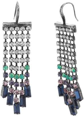 Steve Madden Multi-Colored Crystal Fringe Chain Earrings