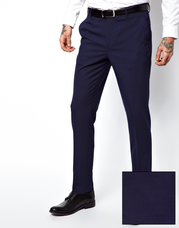 ASOS Skinny Fit Suit Trousers in Blue