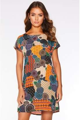 Quiz Multicoloured Woven Patchwork Tunic Dress
