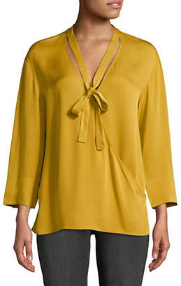 Theory Tie-Neck Silk Wrap Top