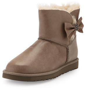 UGG Mini Bailey Bow Crystal Shearling Fur Boot, Black