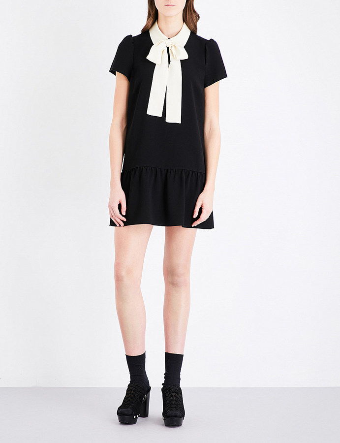 RED ValentinoRed Valentino Contrast-collar pussybow crepe mini dress