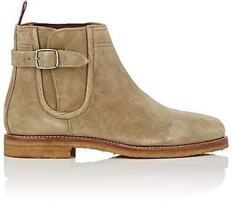 Cartujano Espana Men's Buckle-Strap Suede Chelsea Boots - Olive