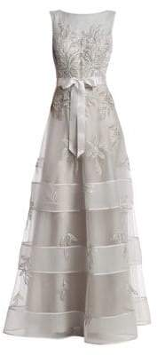 Teri Jon by Rickie Freeman Embroidered Floral Tulle Gown