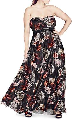 City Chic Holiday Rose Strapless Maxi Dress