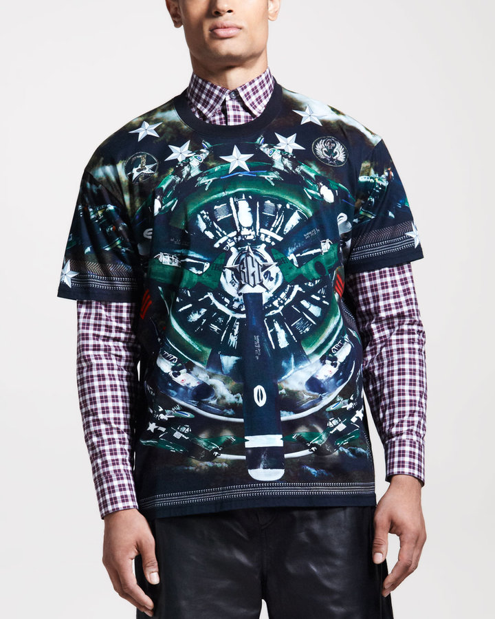 Givenchy Columbian-Fit Plane-Print Tee