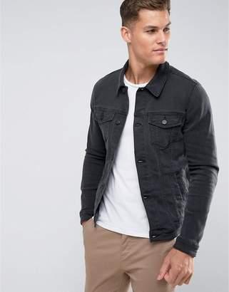 Asos DESIGN skinny denim jacket in washed black