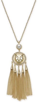 "Thalia Sodi Gold-Tone Pave Lion, Imitation Pearl & Chain Tassel 30"" Pendant Necklace"