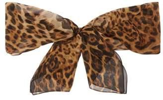 Saint Laurent Leopard Print Silk Chiffon Pussy Bow Scarf - Womens - Brown