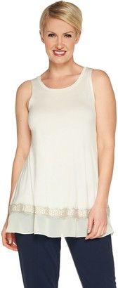 Logo By Lori Goldstein LOGO Layers by Lori Goldstein Knit Tank Top with Ruffle & Lace Hem