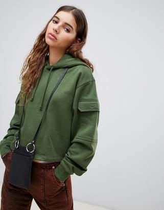 Weekday pocket detail cropped hoodie in khaki