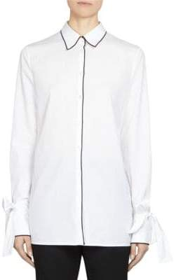 Maison Margiela Collared Poplin Bow-Sleeve Button Down Shirt