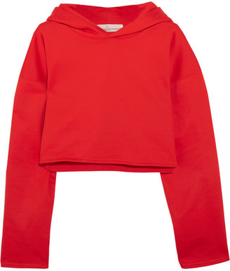 Golden Goose Deluxe Brand - Cropped Cotton-jersey Hooded Top - Red $355 thestylecure.com