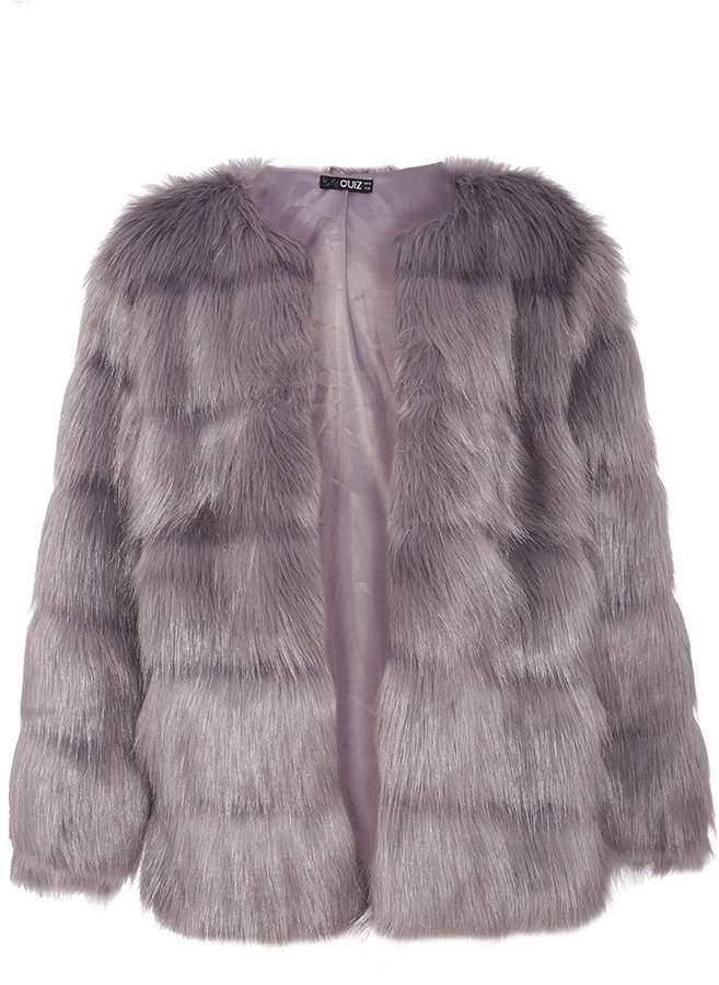 Grey Faux Fur Panel Jacket