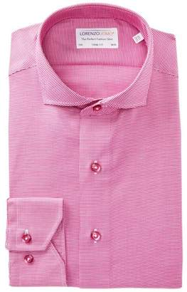 Lorenzo Uomo Check Print Textured Trim Fit Dress Shirt