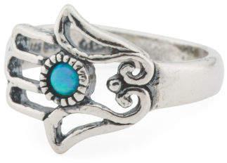 Made In Israel Sterling Silver Opal Hamsa Ring