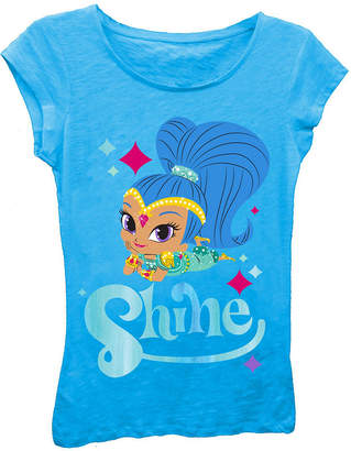 Asstd National Brand Shimmer and Shine Girls' Shine Posing with Sparkles Short Sleeve Graphic T-Shirt with Blue Foil