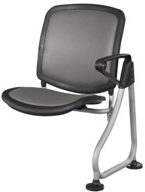 OFM ReadyLink Model 211 Add-On Chair, Charcoal with Silver Frame