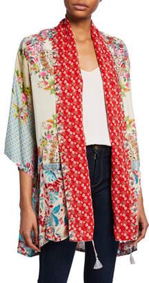 Johnny Was Plus Size Jade Mixed Floral-Print 3/4-Sleeve Silk Twill Kimono