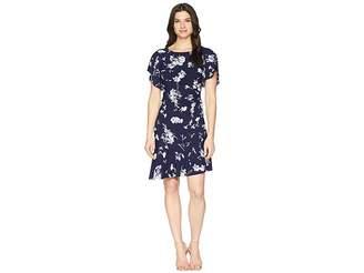 Chaps Floral Jersey Dress Women's Dress