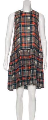 The Great Silk Plaid Knee-Length Dress