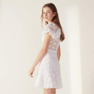Sandro Ruffled Lace Dress