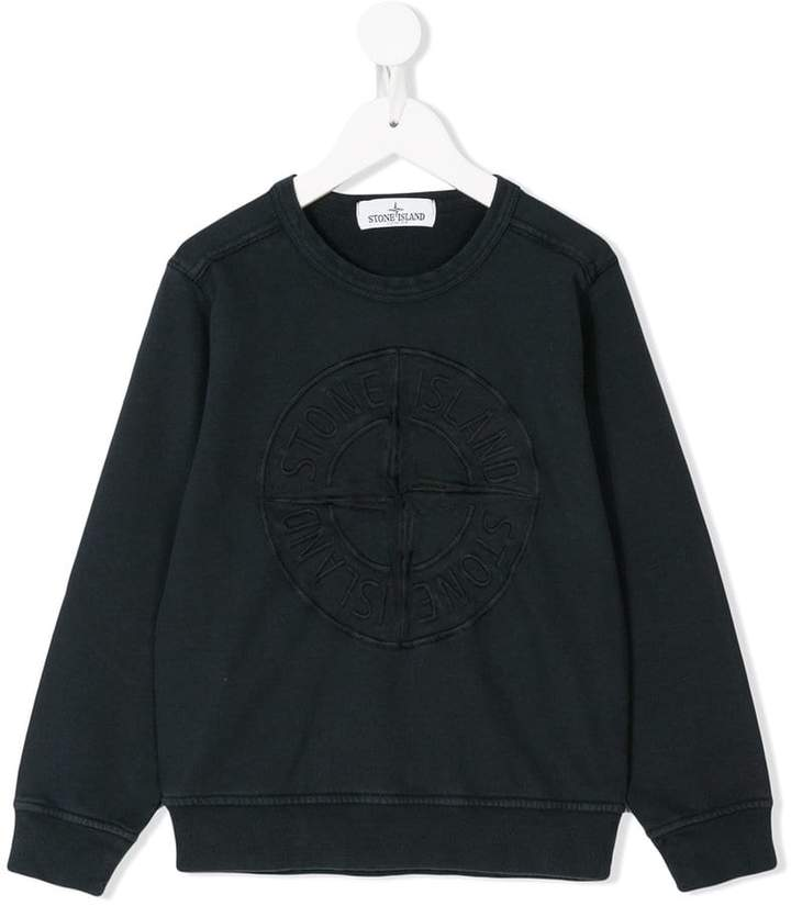 Stone Island Junior logo embroidered sweatshirt