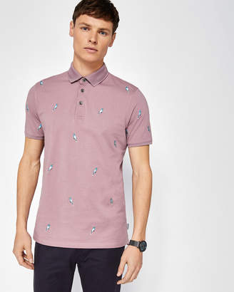 Ted Baker SCRAFFY Cockatoo embroidered polo shirt
