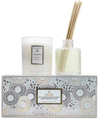 Voluspa Mokara Scalloped Candle & Diffuser Gift Set.