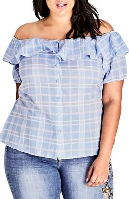 City Chic Check Me Out Top
