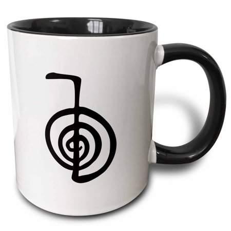 3dRose Reiki power symbol cho ku rei choku rei for protection cleaning clearing energy or boosting healing - Two Tone Black Mug, 11-ounce