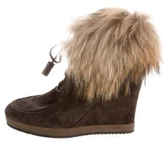 Moncler Fur-Trimmed Wedge Ankle Boots