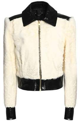 Lanvin Patent Leather-Paneled Shearling Jacket
