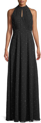 Karl Lagerfeld Paris Halter-Neck Rhinestone A-line Gown
