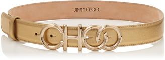 Jimmy Choo CHOO BELT/L Gold Metallic Nappa Leather Choo Belt with Metal Logo