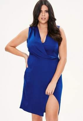 Missguided Curve Blue Wrap Drape Front Dress