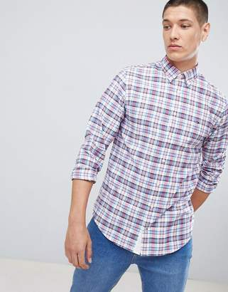 Tommy Hilfiger Icon check oxford shirt buttondown regular fit flag logo in blue/red