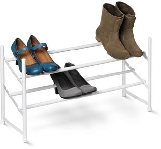 Honey-Can-Do 2-Tier Steel Expandable Shoe Rack, White