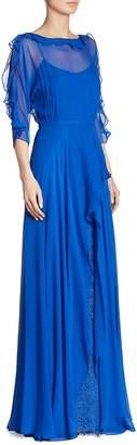 Teri Jon Women's Ruffled Chiffon Silk Gown