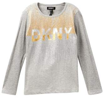 DKNY Ribbed Long Sleeve Tee (Big Girls)