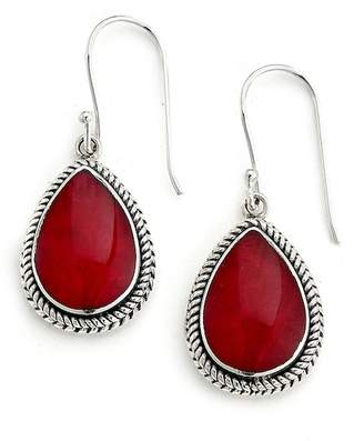 Samuel B Jewelry Sterling Silver Teardrop Coral Drop Earrings