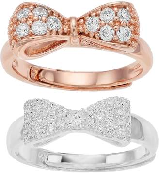 520ea45e4 Mother Daughter Two-Tone Bow Cubic Zirconia Ring Set