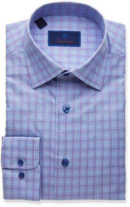 David Donahue Men's Regular-Fit Plaid Dress Shirt, Blue/Berry
