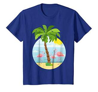 Flamingos Tropical Island Beach Family Vacation Fun T-Shirt