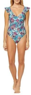 Jessica Simpson Mai Tai Frill-Shoulder One-Piece Swimsuit