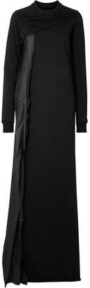 Rick Owens Shell-trimmed Cotton-jersey Maxi Dress - Black
