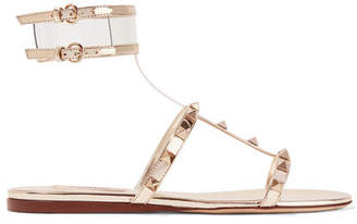 Valentino Garavani Moonwalk Studded Mirrored-leather And Pvc Sandals - Gold