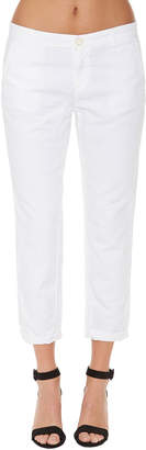 AG Jeans Low-Rise Cropped Trouser Pants, White