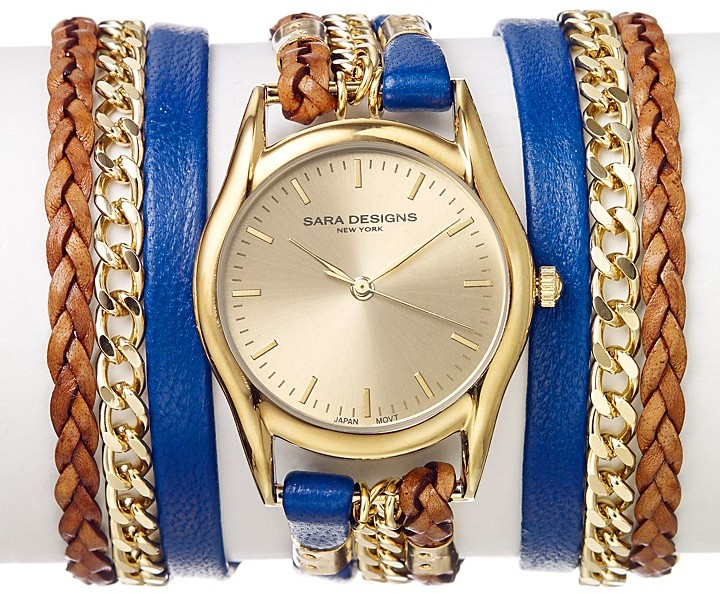 Sara Designs Blue Leather & Chain Wrap Watch, 33mm