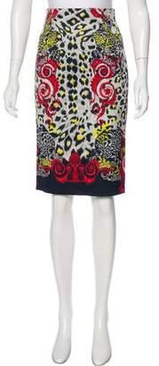 Versace Leopard Print Pencil Skirt